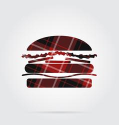 red black tartan isolated icon - hamburger vector image