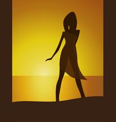 woman on seaside vector image