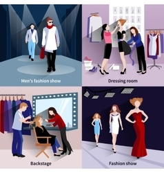 Fashion model catwalk set vector image