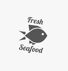 fish emblem seafood logo vector image
