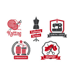 icons for dressmaker knitting atelier salon vector image vector image