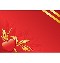 red card with flora and heart vector image vector image