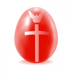 red egg with a cross and dove vector image