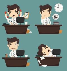 Set of businessman sitting on desk office worker vector image vector image