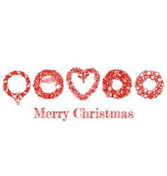 christmas hand drawn wreath set vector image vector image