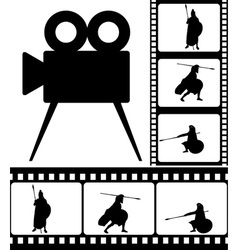 movie camera and films vector image vector image