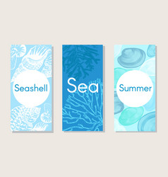 sketch marine nature vertical banners vector image vector image