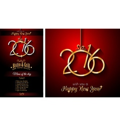 2016 Happy New Year Restaurant Menu Template vector image