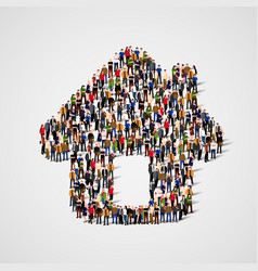 a group of people in shape of house icon vector image