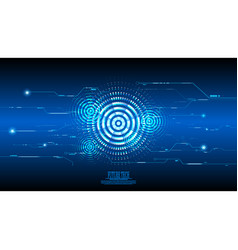 abstract blue cyber circuit background vector image
