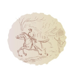 American revolution soldier riding horse vector image