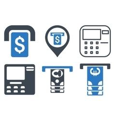 ATM Terminal Flat Icons vector