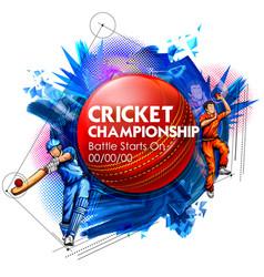 Batsman and bowler playing cricket championship vector