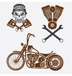 bikers theme labels with motorbikeskullengine and vector image