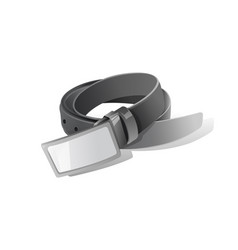 Black realistic curled leather belt with metal vector
