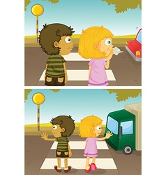 Boy and girl crossing road vector