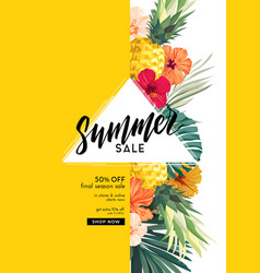 bright summer poster with exotic palm leaves vector image