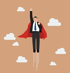 Businessman superhero flying into the sky vector image