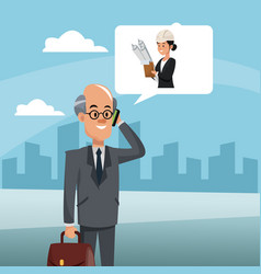 Businessman talking with architect vector
