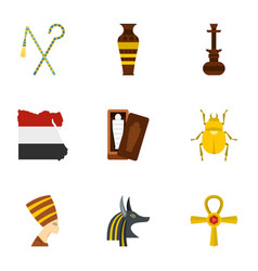 cairo travel icons set cartoon style vector image