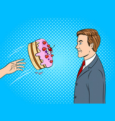 cake is thrown in face pop art vector image