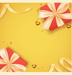 card with gift box and ribbon vector image