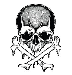 Cartoon decorative human skull vector