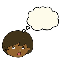 Cartoon female face looking upwards with thought vector