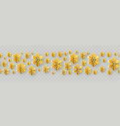 christmas and new year seamless border with gold vector image