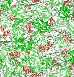 Christmas holly seamless pattern vector