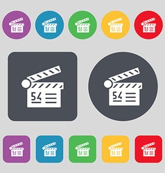 Cinema movie icon sign a set of 12 colored buttons vector