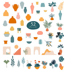 Collection stickers and floral design elements vector