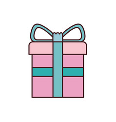 colorful gift box with decorative ribbon in cross vector image