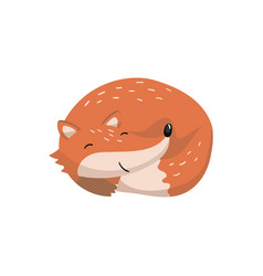 Cute red fox sleeping woodland cartoon animal vector