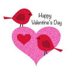 Cute valentine birds in pink glitter heart vector