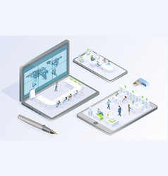 digital technologies for business isometric vector image