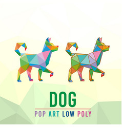 dog animal pet pop art low poly line logo icon vector image