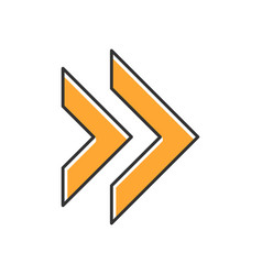 Double orange arrow color icon rewinding button vector