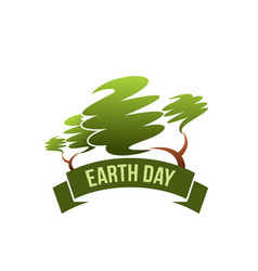 Earth day save planet green nature icon vector