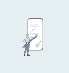 electronic signature and technologies concept vector image