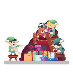 elf carrying present into bag with gifts merry vector image