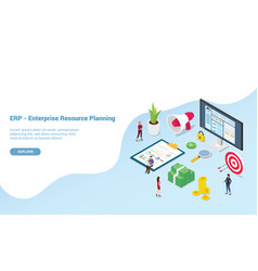 Erp enterprise resource planning concept with vector