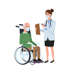 female doctor with old man in wheelchair vector image