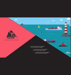 flat marine transport composition vector image