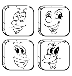 Four square faces vector