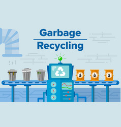 garbage recycling process concept flat vector image