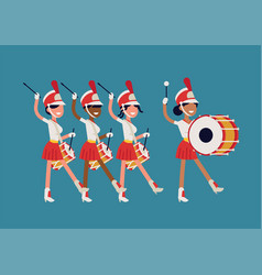 Girls marching band flat abstract parade drummer vector
