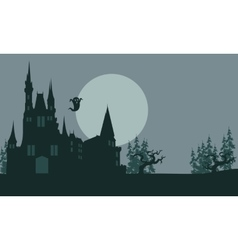 Halloween castle and ghost scary vector image