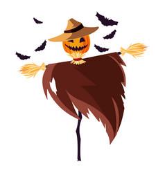 Halloween scarecrow character icon vector