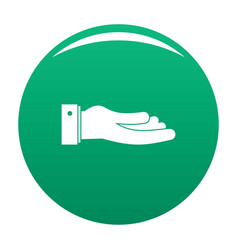 Hand ask icon green vector